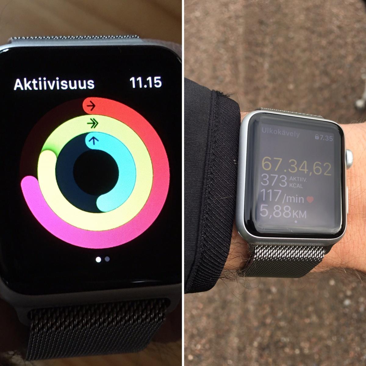 """""""Renkaat kiinni"""" – Apple Watch liikkujanranteessa"""